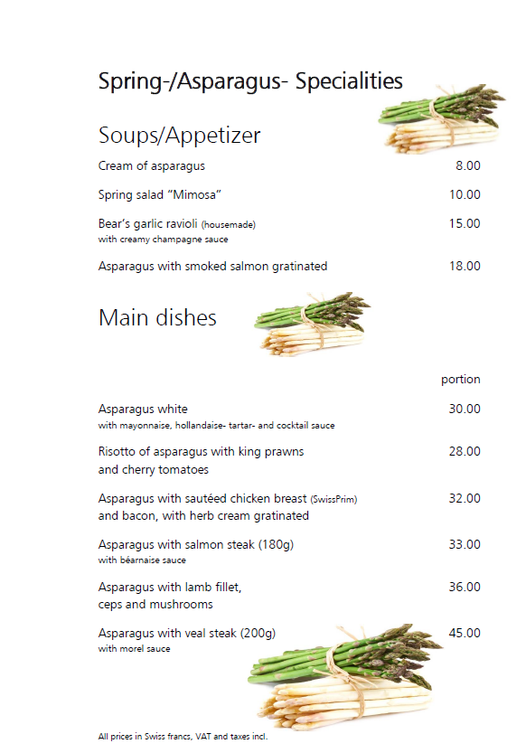 Spring-/Asparagus Specialities from 30th March 2018