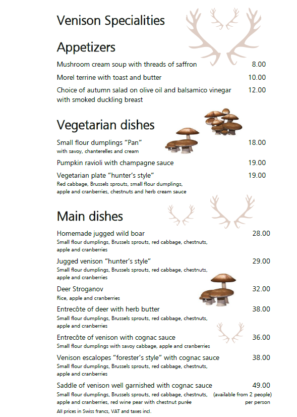 Venison Specialities from 15th September 2018